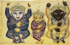 Balabhadra, Subhadra and Jagannatha. Kalighat, Calcutta, 1860. The Jagannath trio, consisting of Jagannatha painted black as an alternative form of Krishna, Lord of the Universe, in the company of his brother Balabhadra and their little sister Subhadra in the middle.