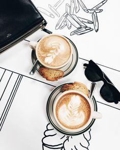 coffee and biscotti - latte art.