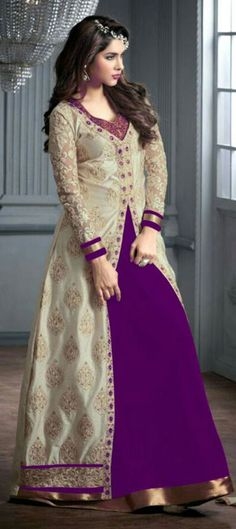 456382: Purple and Violet color family stitched Anarkali Suits .
