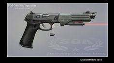 Then there was time for yet another handgun. Those of you who'd seen the latest tutorial recognize the design. Render is a magnetic accelerated projectile technology, where the grooves inside the b...