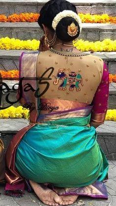 Saree Blouse Models, Pattu Saree Blouse Designs, Saree Blouse Patterns, Blouse Back Neck Designs, Fancy Blouse Designs, Bridal Blouse Designs, Mirror Work Blouse, Sarees, Beauty