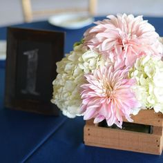 Hydrangea and cafe Au Lait dahlias were the stars of the show in yesterday's centerpieces. The juxtaposition of soft delicate blooms against the rough wooden crates was perfect.  #weddingflowers #barnwedding #centerpiece #farmerflorist #localflowers #farmflowers