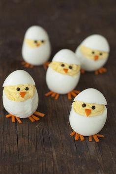 Skip the plain old deviled eggs for these adorable hatching chicks, sure to be the hit of your Easter brunch.