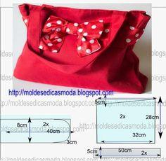 PASSO A PASSO MOLDE DE BOLSA Corte dois retângulos de tecido com a altura e largura que pretende para a bolsa. Desenhe as laterais do saco Desenhe o fundo