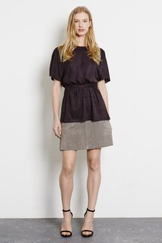 In The Press | Grey Suede Pocket A Line Skirt | Warehouse