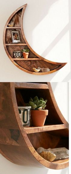 Crescent moon wood wall shelf: comes ready to hang Rustic Nursery Decor, Kids Wall Decor, Rustic Decor, Farmhouse Decor, Room Decor, Ikea Nursery, Moon Nursery, Girl Nursery, Nursery Ideas