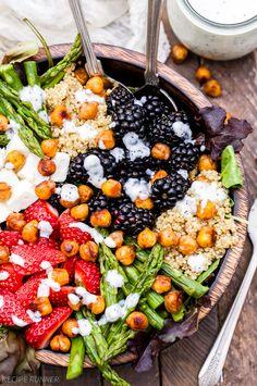Berry, Asparagus, Quinoa and Feta Salad with Sweet Crispy Chickpeas - Half Cup Habit