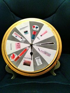 This is a Mary Kay prize wheel which I have made for my Mary Kay Parties. Whenever someone books a party with me they get to spin the arrow and see what they will get at the party they are hosting as long as they keep it on the original date. I have made a couple of other backgrounds that I can change out on the wheel.