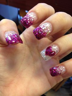 Purple glitter faded nails.