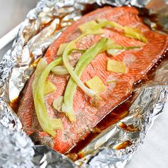 Grilled Salmon in Foil w/Ginger & Soy sauce. Ingredients: ½ salmon ...