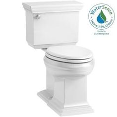Memoirs® Stately Comfort Height® two-piece elongated gpf toilet with AquaPiston® flushing technology, left-hand trip lever and concealed trapway: Toilets: Toilets: Bathroom Kohler Memoirs, Kohler Toilet, Flush Toilet, Chair Height, Toilet Bowl, Polished Chrome, Home Improvement, Biscuit, Dune