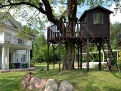 ogród z domkiem na drzewie