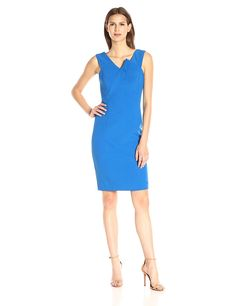 Adrianna Papell Women's Slim Asymmetrical Structured Drape Sheath -- See this great product. (This is an affiliate link and I receive a commission for the sales)