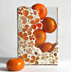 Orange mosaic vase or décor piece