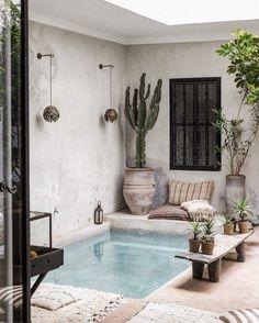 Backyard Pool Designs, Small Backyard Pools, Small Pools, Le Riad, Riad Marrakech, Airbnb Marrakech, Kleiner Pool Design, Moroccan Home Decor, Moroccan Interiors