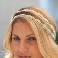 Double Caitline  Rhinestone bridal headband, wedding headband, wedding hair accessories, crystal headband, bohemian bridal headband