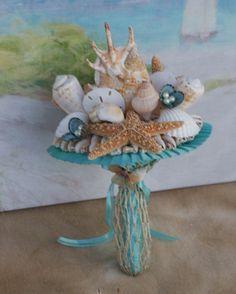 4 piece Package Seashell Bouquet / Beach Bouquet for Beach, Destination, Summer, Seaside Wedding
