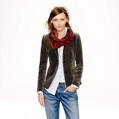 Petite schoolboy blazer in velvet - jackets & outerwear - Women's petite - J.Crew