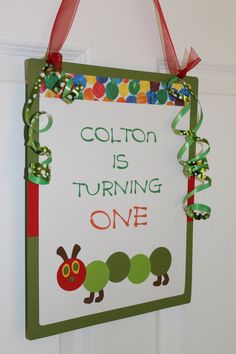 Very Hungry Caterpillar Party Sign by ThatsSoCuteEtsyShop on Etsy, $10.00