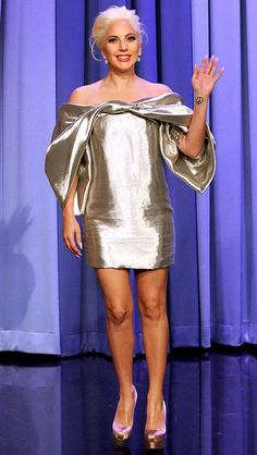 Lady Gaga in a billowy metallic Monse mini dress - click ahead for more of the best celebrity style this week