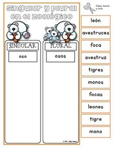 "Centros de aprendizaje en español ""PARA LLEVAR"" - Singular Spanish Lessons For Kids, Learning Spanish, Spanish Classroom Activities, Singular And Plural, Therapy Worksheets, Elementary Spanish, Spanish Grammar, Literacy, Teaching"