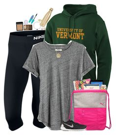 """""""I'm at the University of Vermont's orientation"""" by teamboby ❤ liked on Polyvore featuring NIKE, JanSport, Madewell, Vera Bradley, Moon and Lola, Honora, Everest, S'well, Kate Spade and Maybelline"""