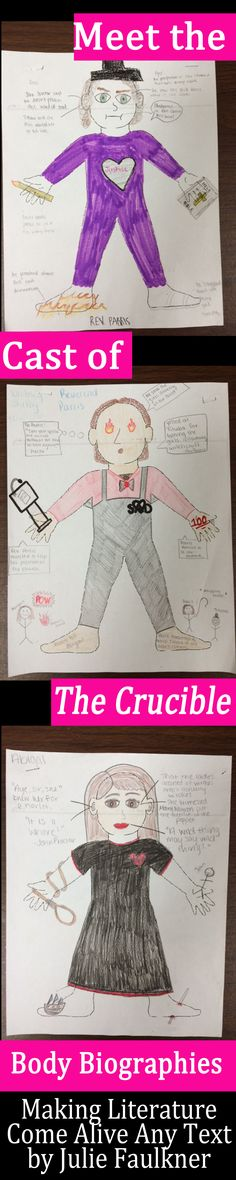 Making Literature Come Alive Any Text   Grades 6-12   NO PREP   Body Biographies   Characterization