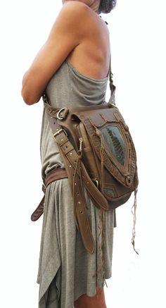 Leather holster, leather utility belt, festival belt, steam punk belt, tribal jungle, navaho, messenger bag on Etsy, $389.00