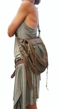 Leather holster, leather utility belt, festival belt, steam punk belt, tribal jungle, navaho, messenger bag on Etsy, $389.00