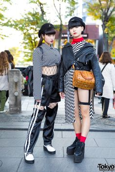 Harajuku Girls in Monochrome Streetwear Styles w/ Open the Door, One Spo, Kinji, YRU, Bubbles & MCM