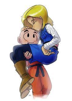 Dragon Ball Z Fan Art Mini Anime Android Saga Android 18 Loves Krillin Android 18 And Krillin, Krillin And 18, Dragon Ball Z, Goku, Db Z, Chibi, Fan Art, Manga Comics, Anime Manga