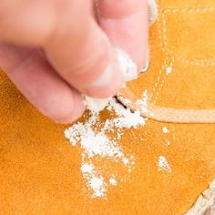 Use cornmeal to absorb suede stains. Water stain? What water stain?