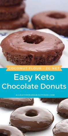Keto chocolate donuts made with coconut flour and dipped in a sugar-free chocolate glaze. My kids declared these to be the best keto donuts I have ever made! Chocolate Cake Donuts, Keto Chocolate Recipe, Low Carb Chocolate, Chocolate Glaze, Low Carb Sweets, Low Carb Desserts, Healthy Desserts, Healthy Food Blogs, Healthy Recipes