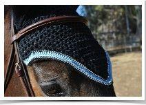 Custom equine fly bonnet by Bon Bonnets. Horse fly veil. www.bonbonnets.com