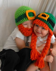 2 Leprechaun Hats Saint Patricks Day photography props Kiss Me I'm Irish Bearded Beanie. $39.95, via Etsy.