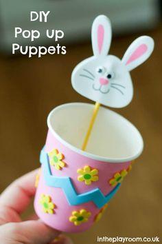 Fantoches de coelhinho, pintinho ou outro bichinho que desejar, em copos descartáveis e palitos para a criança da brincar de esconde e apar...