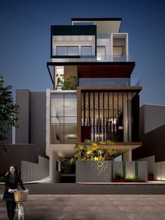 the exterior is the face of the house that everyone will see in the first part. Come to get an Idea of Modern Exterior Design. 3 Storey House Design, Duplex House Design, House Front Design, Modern House Design, Modern Exterior House Designs, Facade Design, Exterior Design, Modern Architecture House, Architecture Design