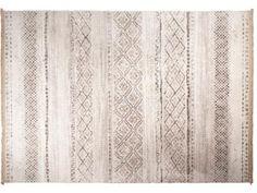 Mit diesem Teppich wird Dein Boden zum Hingucker. Das naturfarbene Muster auf weißem Grund gibt ihm eine süße Shabby-Chic-Optik.