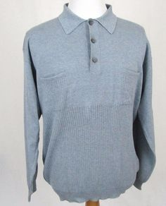 Ermenegildo Zegna Sweatshirt XXL Lightweight Blue Polo Cotton Pullover Sweater #ErmenegildoZegna #Polo