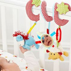 Spiral Wrap Around Baby Crib, Stroller Hanging Soft Toy ELC Blossom Farm