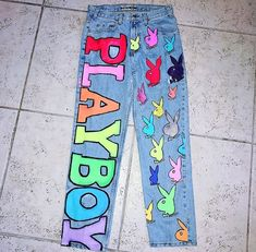 Painted Jeans, Painted Clothes, Hand Painted, Painted Shoes, Diy Clothing, Custom Clothes, Diy Fashion, Ideias Fashion, Look 80s