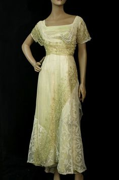 Gold lamé, metallic lace and tulle gown, c.1912, from the Vintage Textile archives.