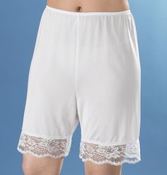 Nylon lace pettipants from Easy Comforts reduce static and chafing, offering a smooth look under culottes, skirts, pants. Vintage Outfits, Vintage Fashion, Split Skirt, Long Shorts, The Good Old Days, Girls Wear, Childhood Memories, 1970s Childhood, Sexy Lingerie
