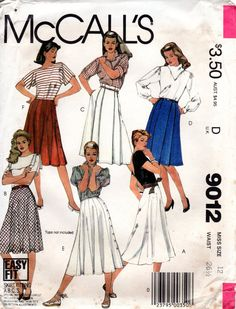 1980s Flared Bias Skirt Pattern  Vintage McCalls by ErikawithaK