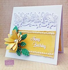 Card made using Crafter's Companion Die'sire Edge'ables - Butterfly Dreams, Core'dinations, Die'sire Only words - Happy Birthday, Die'sire Sunflower die, Die'sire Leaf 2 die, Dotty Embossing Folder, Centura Pearl card, Core'dinations Sand It set, Collall Tacky glue. Made by Liz Walker @crafterscompuk