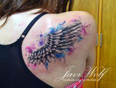Watercolor wing. Tattooed by @javiwolfink