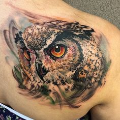 """My three favorite words-""""I trust you."""" Client wanted a watercolor inspired Owl on the right shoulder blade. 5 hours, start to finish, no pre-drawing. Stoked.Thanks for looking. #rapturetattooemporium #returntothesource #deluxeirons #redemptiontattoocare #blackclawneedle #owl #owltattoo #watercolortattoo"""