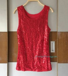 52345835a7b1a Fashion Hot Women Lace Sequin Casual Sleeveless Vest Tank Top Shirt Blouse  New