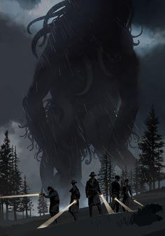 ArtStation - In the Fog, Brian Matyas Hp Lovecraft, Lovecraft Cthulhu, Cthulhu Art, Call Of Cthulhu Rpg, Cthulhu Tattoo, Fantasy Monster, Monster Art, Dark Fantasy Art, Fantasy Artwork