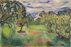 Edvard Munch Garden with Apple Trees 1920 / Oil on canvas / 60 x 90 cm Munch Museum Edvard Munch, Garden Painting, Oil Painting On Canvas, Painting & Drawing, Van Gogh, Post Impressionism, Oil Painting Reproductions, Apple Tree, Various Artists